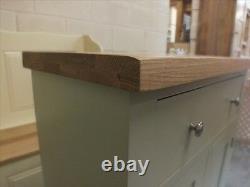 Buckingham Painted Narrow 2 Door Sideboard Solid Oak Top- Sur Mesure- Français Gris