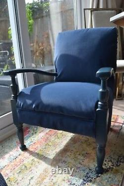 Chaise Basse Vintage, Bleu Foncé, Bois Massif, Rembourré En Daim Faux Nubuck