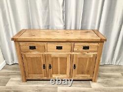 Chêne Meubles Terrain 100% Solide Chêne Sidebaord Cabinet Unité 3 Tiroirs 3 Armoires