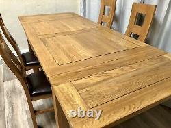 Chêne Meubles Terrain Chêne Massif Table À Manger Extensible Et 4 Chaises À Manger En Chêne Massif