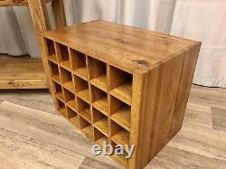 Chêne Meubles Terrain Rustique Solide Chêne Sidebaord Cabinet Unité Console Rack De Vin