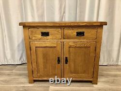 Chêne Meubles Terrain Solide Chêne Rustique Buffet Cabinet Unité 2 Tiroirs 2 Armoires