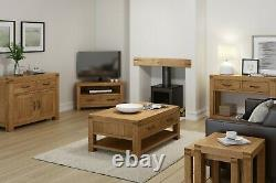Chunky Oak Tv Stand Unité Extra Large 200cm Solid Wood Rustic Cabinet Abbey Grand