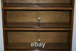 Cinq Sections Des Années 1960 Simplex Moyen Chêne Écaillage Bibliothèque Juridique Bibliothèque Glass