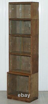 Circa 1930's Limed Chêne Modular Minty Oxford Antique Stacking Bibliothèque Juridique