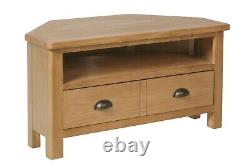 Country Oak Corner Tv Unit / Solid Wood Media Cabinet / Support De Télévision