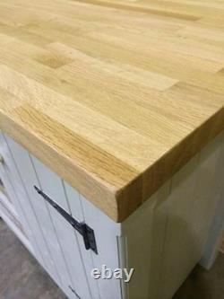 Cuisine Autoportante Armoire Solid Oak Top & Vintage Trays Handmade Rustic Unit