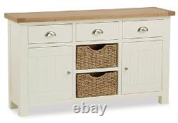 Daymer Peint Grand Sideboard Avec Paniers / Off White Large Cupboard & Oak Top