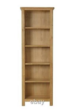Dovedale Chêne Grande Bibliothèque / Rustique Plate-forme De Livre Solide Narrow / Armoire En Bois
