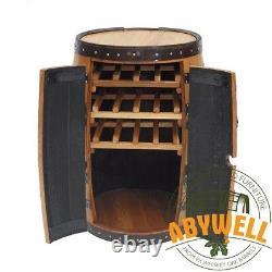 Drink Cabinet Double Portes 3 Racks Fabriqués À La Main Scotch Solide Whisky Chêne Barrel