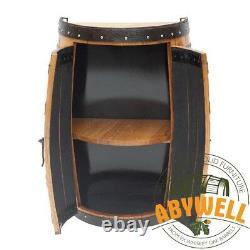 Drinks Cabinet Double Doors 1 Étagère Handmade Solid Scotch Whisky Oak 1/2 Barrel