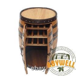 Drinks Cabinet Double Doors 3 Racks Handcrafted Solid Scotch Whisky Oak Barrel