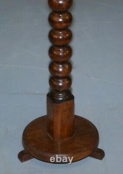 Édouardian Période Tall Anglais Chêne Noix Bobbin Tunted Lampe Vin Table D'extrémité Latérale