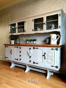 Élégant Grand Cradle De Chêne Solide Dresser Buffet Armoire De Rangement Peint