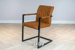 Ensemble De Salle À Manger Industrial Rectangle Metal Oak Table & Vintage Leather Dining Chairs