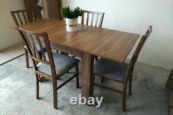 Ensemble De Table À Manger Extensible Et 4 Chaises En Bois Forte, Solide, Chêne Brassant Ma