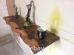 Étagère Flottante Solid Elm Live Edge, Reclaimed, Rustic Oak, Chunky Tv Unit, Table
