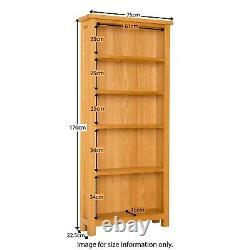 Grande Bibliothèque De Chêne Étagères Unité 5 Étagères Newlyn Stockage De Meubles En Bois Massif