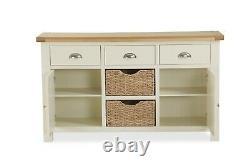Hampshire Cream Painted Oak Large Sideboard / Wide Cabinet Storage Basket Unit