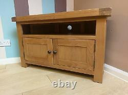 Kingsford Oak Corner Tv Unit / Rustic Media Cabinet / Unité De Divertissement Solide