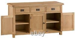 Kingsford Solid Oak Large 3 Porte Sideboard / Rustic Cupboard Storage Unit