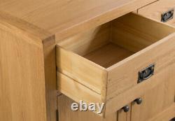 Kingsford Solid Oak Large 4 Portes 3 Tiroir Sideboard / Wide Cabinet Storage