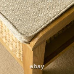 London Oak Hall Bench Solid Wood Hallway Shoe Storage Unit W Paniers & Coussin