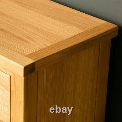 London Oak Small Sideboard Cabinet Light Solid Wood Cupboard 2 Portes & Tiroirs