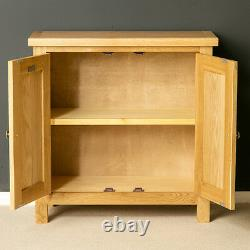London Oak Small Storage Cupboard Light Solid Wood 2 Door Hallway Armoire Unit