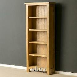 London Oak Tall Slim Bookcase Light Solid Wood Narrow 5 Book Shelf Display Unit