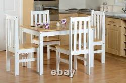 Ludlow White & Oak Effect 4 Seater Set, Table Et 4 Chaises Nouveau
