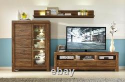Moderne 200cm Large Tv Cabinet Stand Unité 3 Tiroirs Et Leds Effet Chêne Moyen Gent