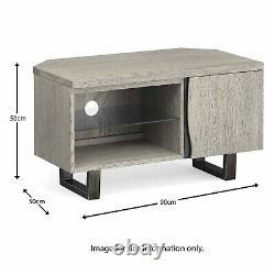 Moderne Grey Oak Corner Tv Unit Solid Wood Television Stand Industriel Pieds En Métal