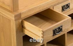 Montreal Chêne Grandes Moines Banc / Rustique Solid Wood Hall Unité De Stockage Avec Trous