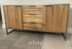 New Oak Furniture Land Brooklyn Buffet Bois Massif Et Métal Collect Berkshire