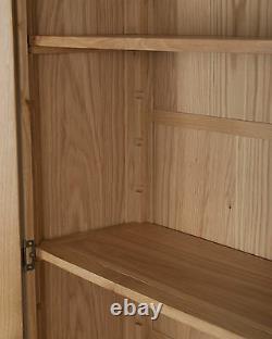 Oak Display Cabinet Solid 2 Portes 1 Tiroir À Chunky Harrogate Naturel