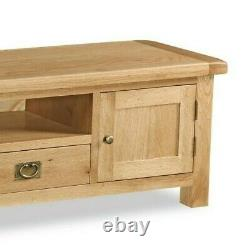 Oakvale Extra Large Low Line Media Stand / Solid Wood 2 Drawer Tv Unit / 2m Wide