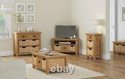 Oakvale Large Low Line Media Stand / Solid Wood 2 Drawer Tv Unit / 180cm De Large