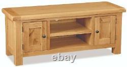 Oakvale Large Tv Unit / Rustic Oak 120cm Media Cabinet / Meubles De Vie Solide