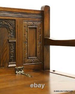 Old Charm Hall Seat Settle Monks Banc Chêne Clair Chêne Massif Livraison Gratuite Au Royaume-uni