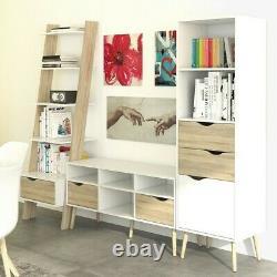 Oslo Retro Leaning Bookcase Shelving Unit 1 Tiroir En Blanc Et Chêne