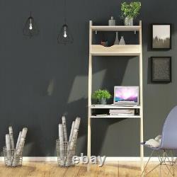 Oslo Retro Scandinavian Style Compact Slimline Leaning Desk En Blanc Et Chêne