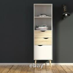 Oslo Retro Spindle Style Bookcase 2 Tiroirs 1 Porte En Blanc Et Chêne