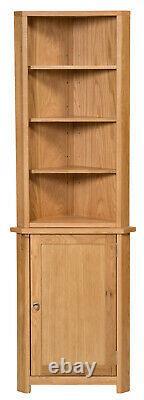 Petit Oak Corner Open Storage Top Low Cabinet With Shelf Solid Wood Unit