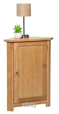 Petite Armoire De Rangement Oak Corner Armoire Basse Avec Étagère Unité En Bois Massif