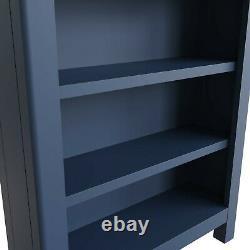 Petite Bibliothèque Bleue / Plate-forme De Livre À Faible Largeur De Chêne Peint / Dovedale Mini Bibliothèque