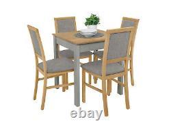 Petite Table De Haute Qualité Et 4 Chaises, Livraison Le Lendemain, Chêne Couleur Et Gris