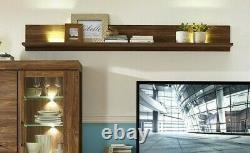 Plateau Mural Moderne Et Lumières Led 200cm 2m Display Storage Moyen Oak Effect Gent