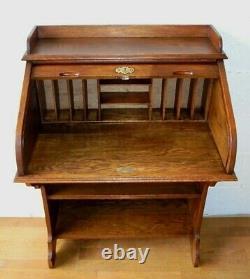Rare Petit Antique Chêne Roll Top Desk Hall Bureau Secretaire Avec Étagères De Livre