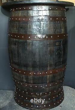 Recyclage Rustique Chêne Solide Moitié Whisky Barrel Bar Poseur Table Pub Table